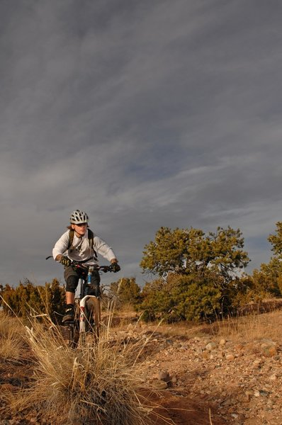 """Josh Bender rippin it down to the """"roller coaster"""" at the La Tierra Trails"""