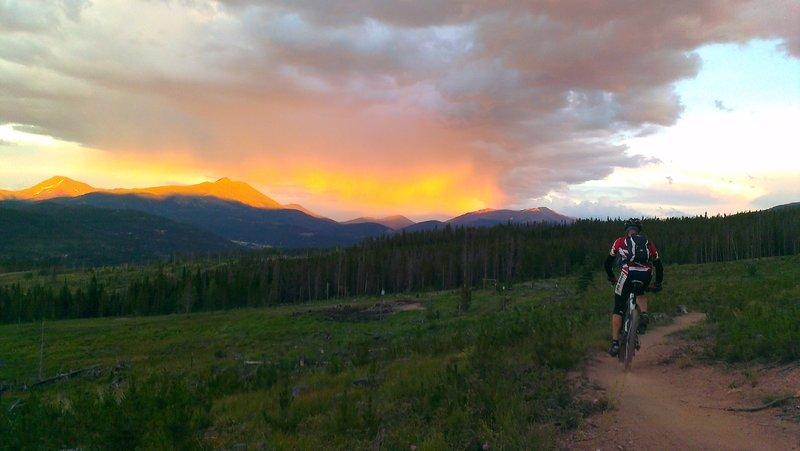 Sunset rain shower on Baldy Mountain