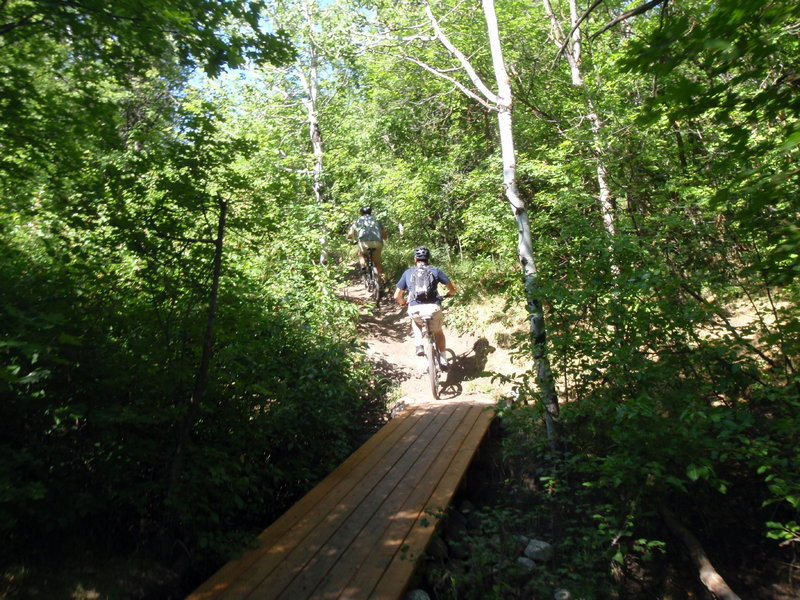 Travis Goodwin and Jared Mitchell cross a bridge.