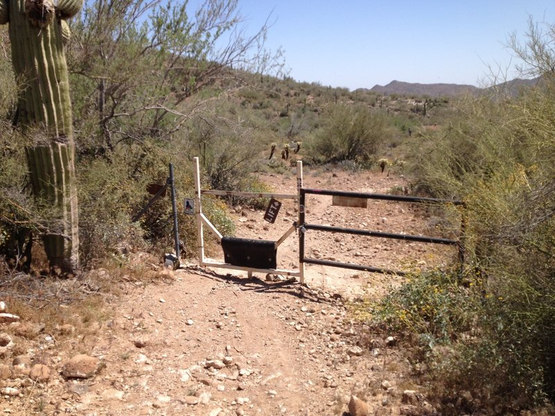 South gate of Spur Cross Ranch Conservation Area. From here, you will be riding the Maricopa Regional Trail.