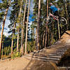 The final wood-to-dirt drop on Trestle Downhill!