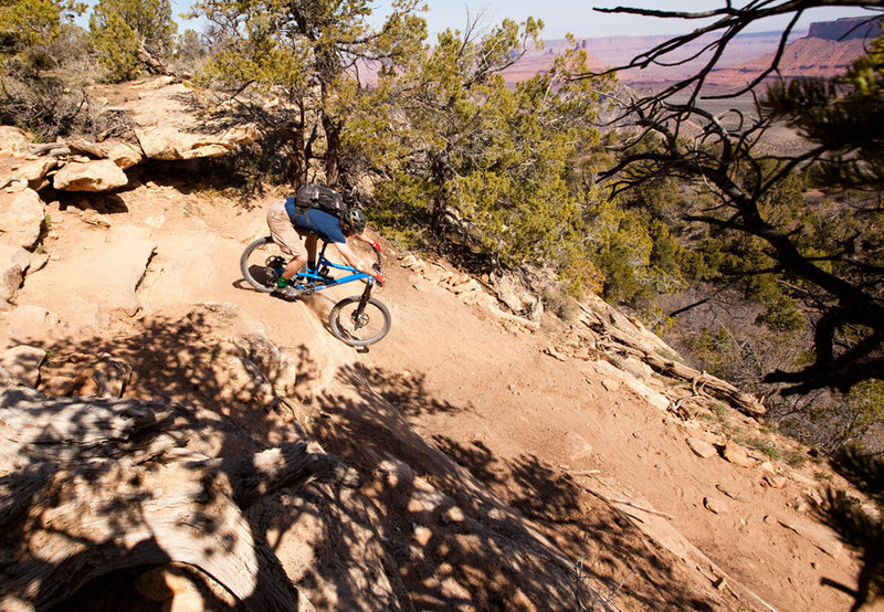 Big switchback and rock drop to get to lower rim on LPS