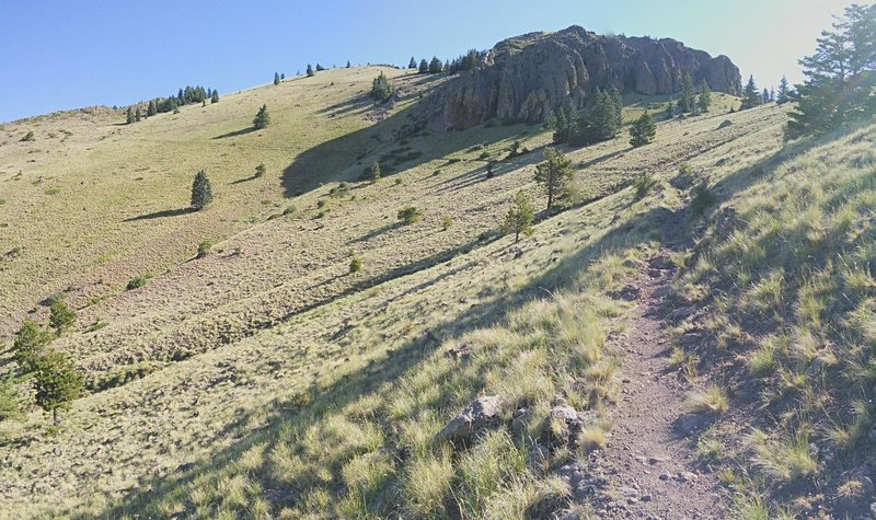 Beyond the second saddle, the trail curves to the north and gradually switchbacks upward