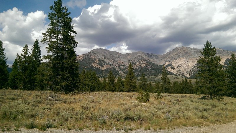 Boulder Mountains form the backdrop for this long section of trail