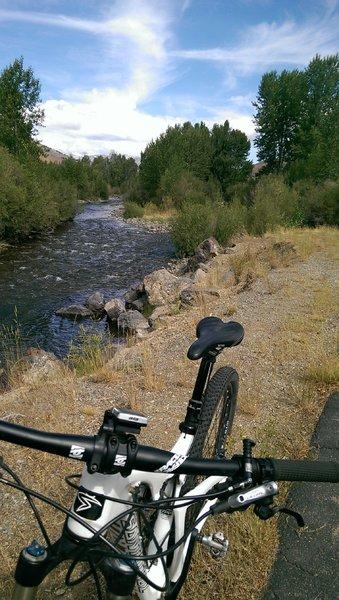 Wood River path and its namesake, the Big Wood River