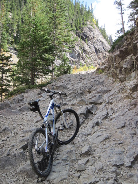 Riding (pushing!) up Schofield Pass from Marble, CO