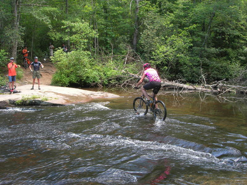 Dangerous crossing on Corn Mill Shoals Trail, I do not recommend riding this.  It is very slippery!