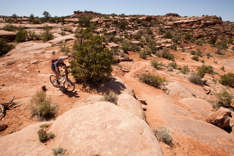 The of Little Canyon Trail.  Exit left towards Gemini Bridges Road or continue to tackle Gold Bar Rim