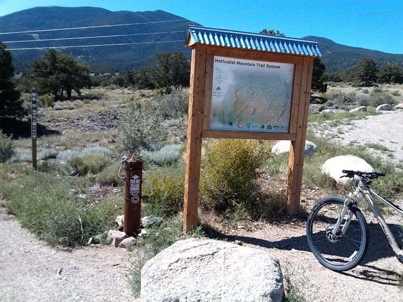 110 Trailhead map.  Someone's hungry for a donation to Salida Mountain Trails!  Please help support maintenance to existing trails and a growing network of great new trails!
