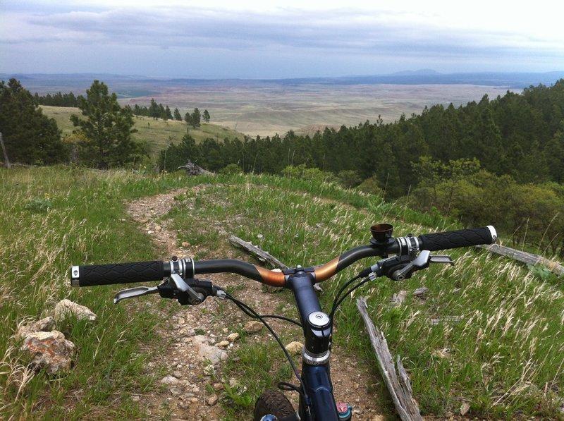 Looking east at Crow Peak in South Dakota --above the coffee cup..