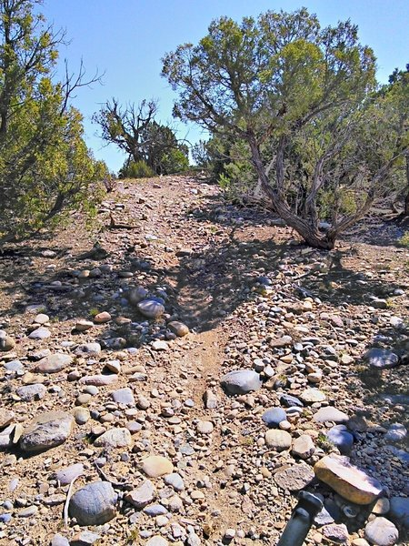 Steep gravelly climb
