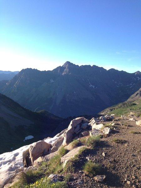 Buckskin summit looking back at Pyramid Peak