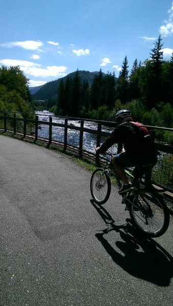 Riding along the always lovely Eagle River in Avon