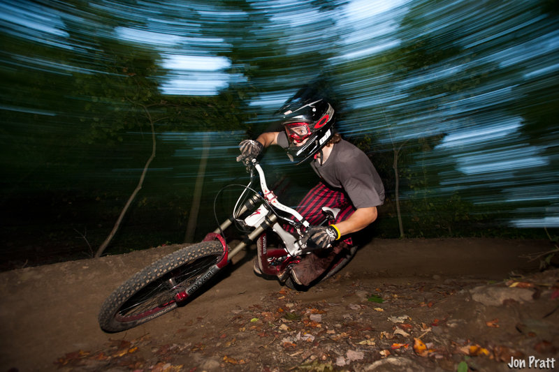 One of the banked turns on Dr J Freeride Trail