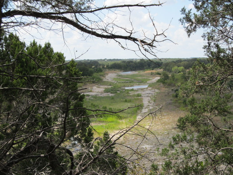 Overlook of Goodwater Loop along the bluff of Jim Hogg Hollow, looking north/west up the San Gabrile River with Box Crossing off in the distance