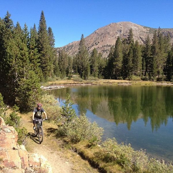 Riding next to one of the Little Lakes