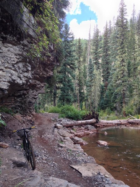 Cliffs and creek--signatures of the Hermosa Creek Trail
