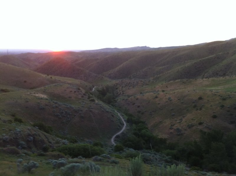 The setting sun from Corrals Trail