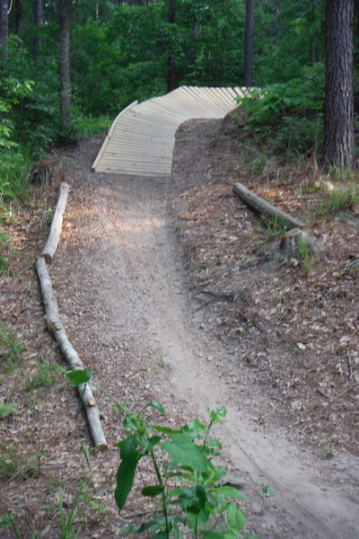 A fast bank turn in the new 357 section. The banking now allows you to carry lots of  speed ...thus adding to the fun factor.