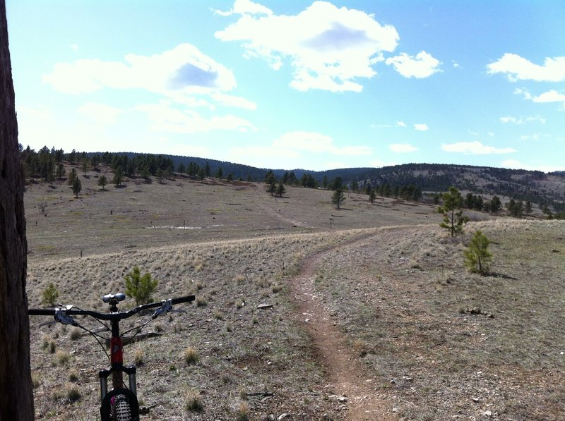 """Sundance Trail looking at the """"saddle"""" view west."""