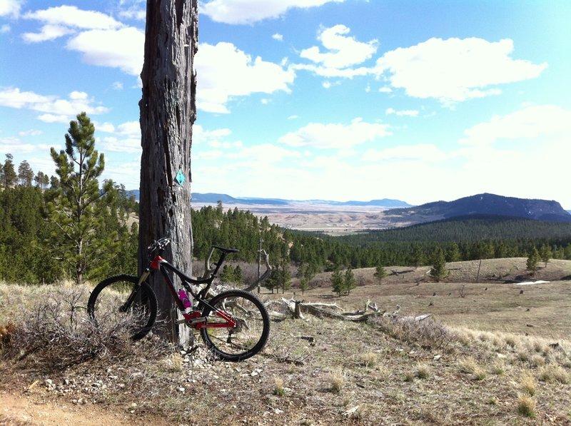 Inyan Kara Background, Sundance Mtn, form the Sundance Trail View south