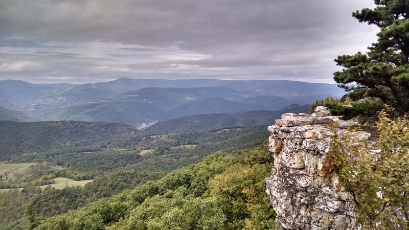 Looking down at Seneca rocks from one of the many overlooks