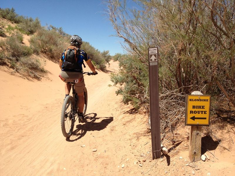 Bikes get a separate trail off the sandy road