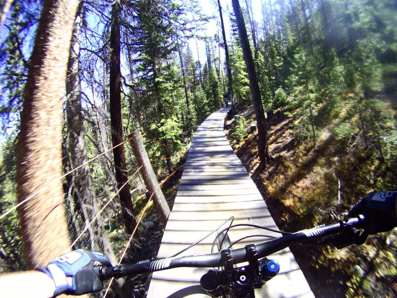 Just got rolling on the elevated boardwalk on Jury Duty at Trestle Bike Park at WPR