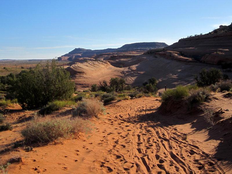 The sand crossing along the Bartlett Wash slickrock.