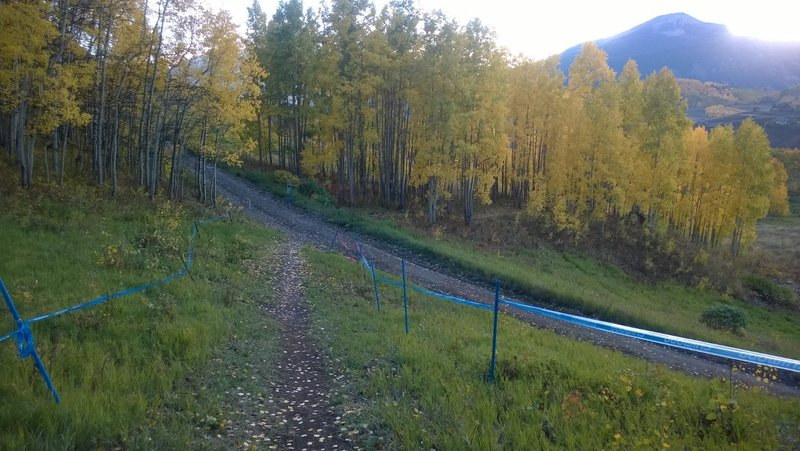 The lower and easier section of the Captain Jack trail.