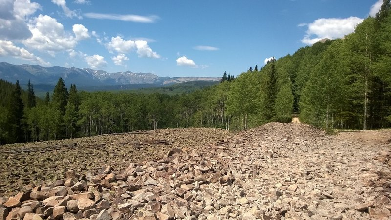 Talus crossing on Carbon Trail with a nice view of the West Elks.