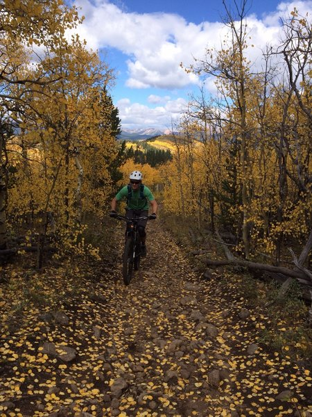 Great fall ride. Climbing a technical section.
