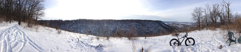 Overlook of the Mississippi River Valley including the Western edge of Winona, Goodview, and Minnesota City.  An absolutely stunning view at any time of the year!