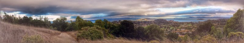 Storm clouds rolling in over San Pablo Bay.