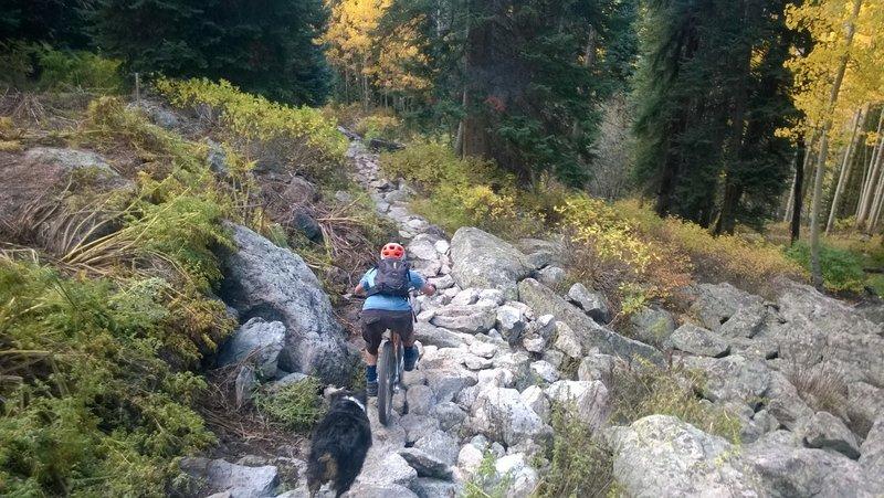 Riding through the chunky rock garden