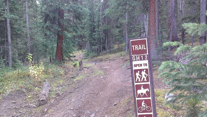 """Sign along the Fuller Trail (GH 44). While most of the markers along this trail and maps identify this as """"GH 44"""", there are still a number of GH 12 marker posts: holdovers from the somewhat disjointed, schizophrenic Forest Service numbering/naming efforts."""