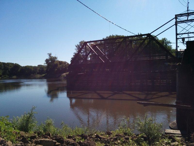 Train swing bridge.