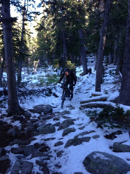 Winter comes early on this Little Raven trail