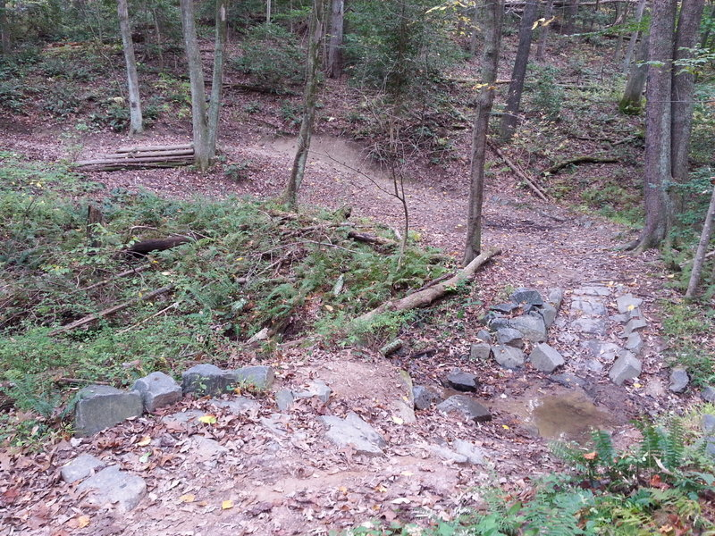 Another view of the rocky creek crossing, you can see a drop on the left (wood)