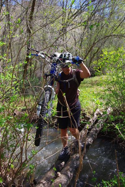 Crossing Lick Creek full of Spring run off.