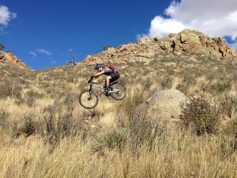 The first rock drop on Freeride Line #1 at Curt Gowdy State Park