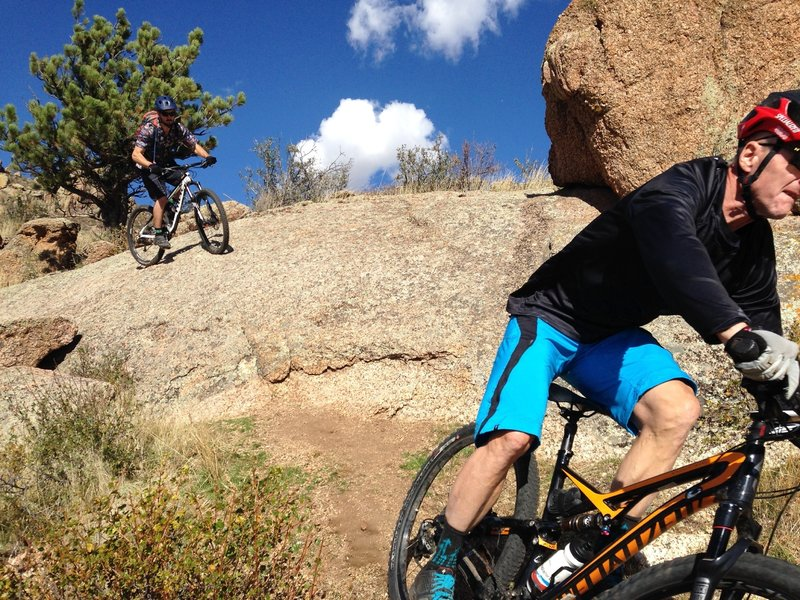 The natural wall ride feature on Freeride Line #1 at Curt Gowdy State Park.
