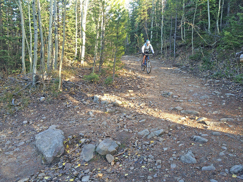 Descending the babyheads section of Hay Park Trail.