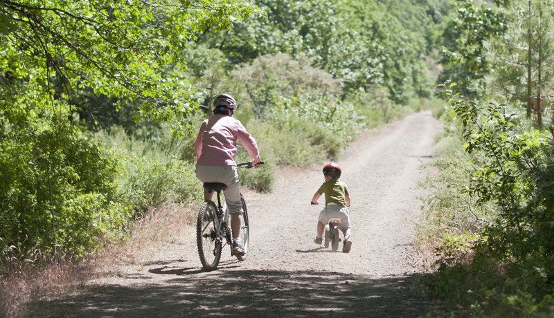 Riding with Grandma on Bizz Johnson National Recreation Trail