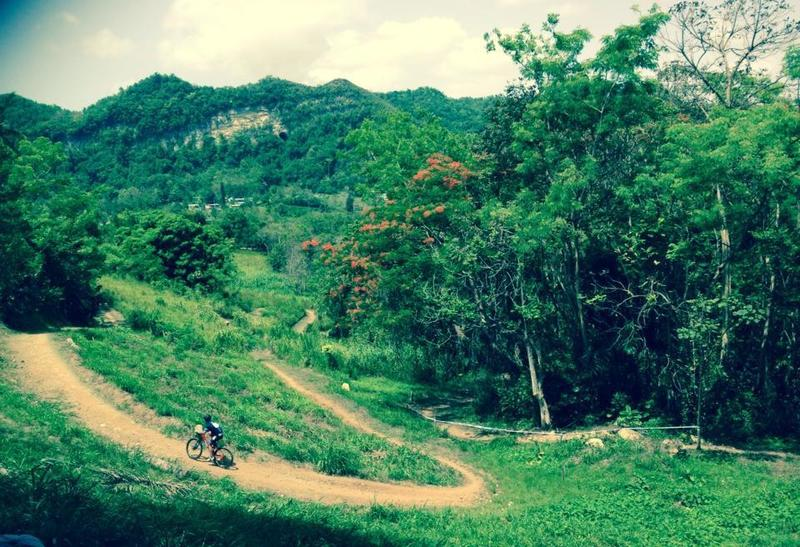 View of the Corozal MTB Trail to the mountain with a cave