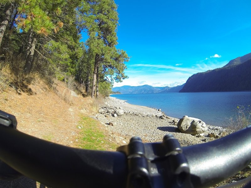 Looking east at Lake Pend Oreille with its surrounding mountains.