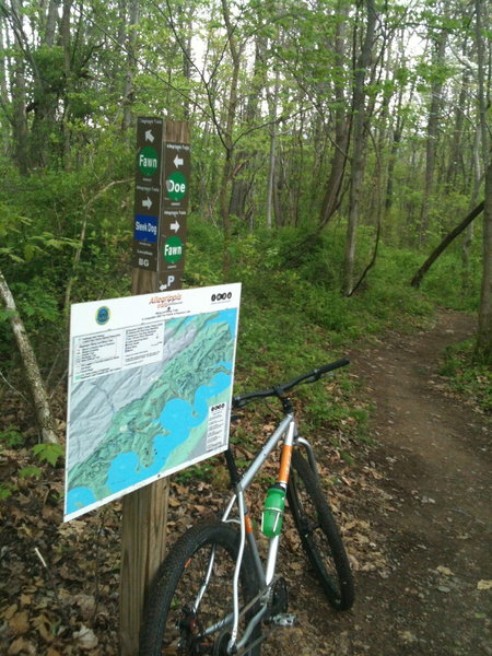 There are a half dozen of these maps scattered through out the trail system and they come in handy.