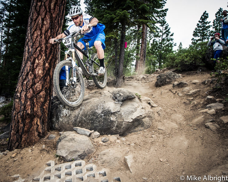 Paul Lacava on the Funner rock drop during the 2012 Oregon Enduro race.  Photo: Mike Albright