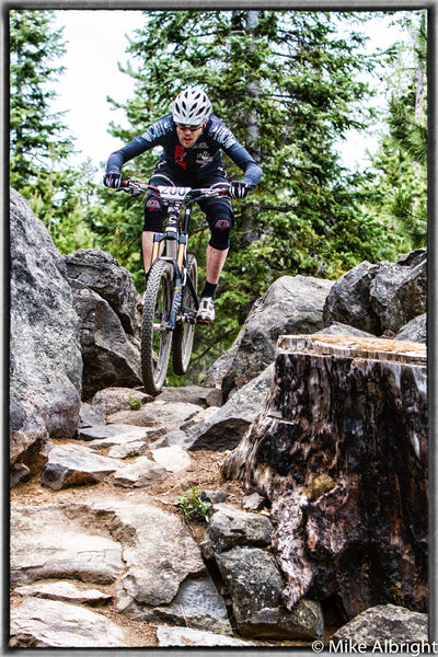 John Frey through a rock section on Funner during the 2012 Oregon Enduro series race.  Photo:  Mike Albright