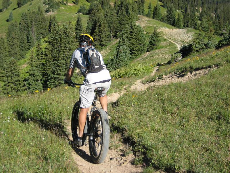 John Percassi riding Fat Tire on Colorado trail from Bolam Pass to Durango, August 2008